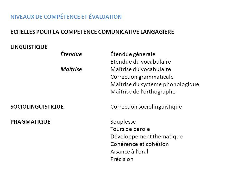 NIVEAUX DE COMPÉTENCE ET ÉVALUATION ECHELLES POUR LA COMPETENCE COMUNICATIVE LANGAGIERE LINGUISTIQUE Étendue Étendue générale Étendue du vocabulaire M
