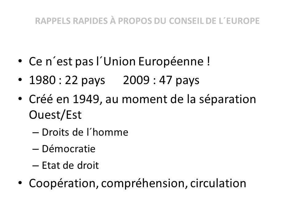 RAPPELS RAPIDES À PROPOS DU CONSEIL DE L´EUROPE Ce n´est pas l´Union Européenne ! 1980 : 22 pays 2009 : 47 pays Créé en 1949, au moment de la séparati