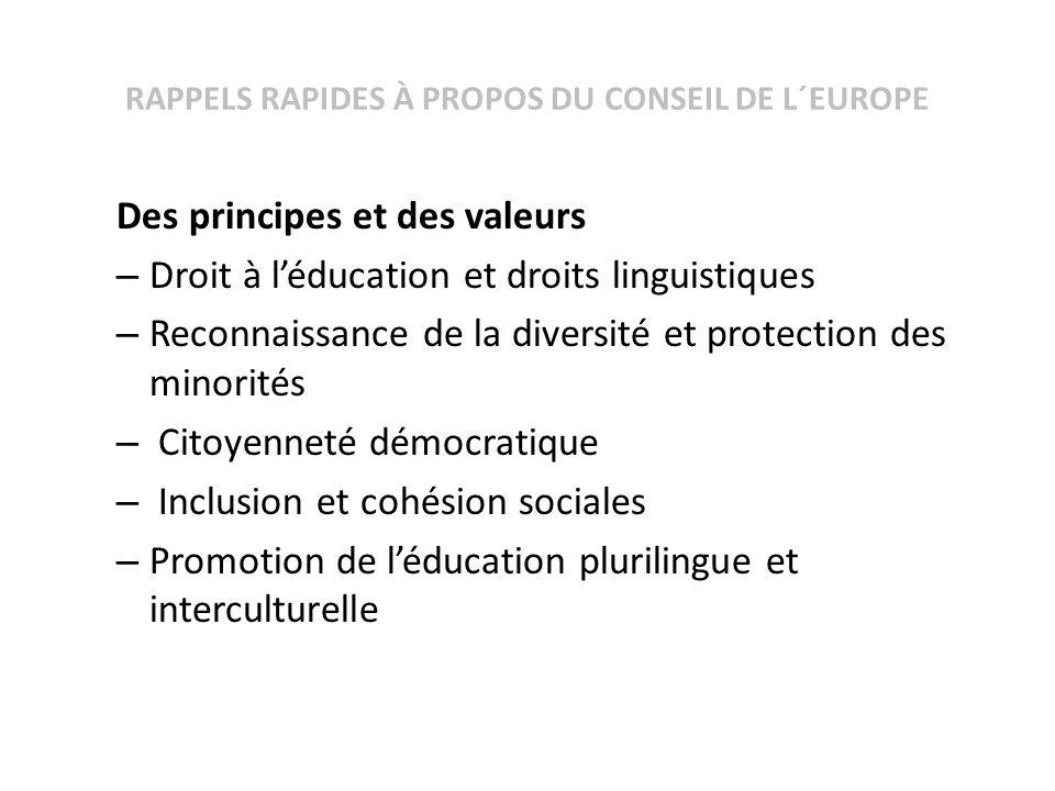 RAPPELS RAPIDES À PROPOS DU CONSEIL DE L´EUROPE Des principes et des valeurs – Droit à léducation et droits linguistiques – Reconnaissance de la diver