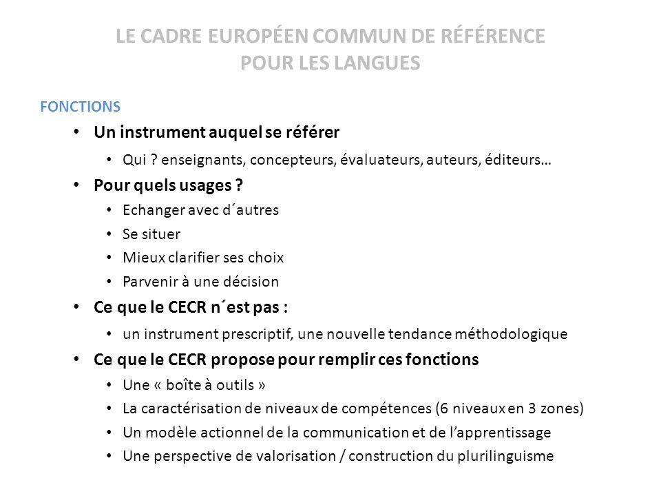 LE CADRE EUROPÉEN COMMUN DE RÉFÉRENCE POUR LES LANGUES FONCTIONS Un instrument auquel se référer Qui ? enseignants, concepteurs, évaluateurs, auteurs,