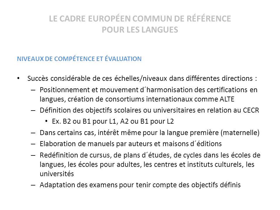 LE CADRE EUROPÉEN COMMUN DE RÉFÉRENCE POUR LES LANGUES NIVEAUX DE COMPÉTENCE ET ÉVALUATION Succès considérable de ces échelles/niveaux dans différente