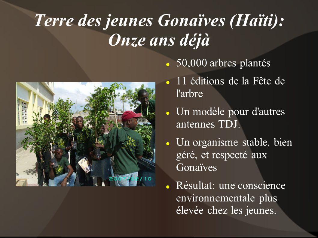 Terre des jeunes Gonaïves (Haïti): Onze ans déjà 50,000 arbres plantés 11 éditions de la Fête de l arbre Un modèle pour d autres antennes TDJ.