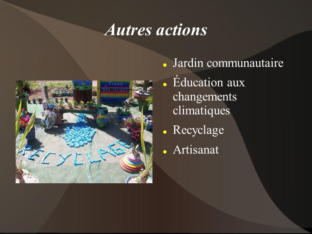 Autres actions Jardin communautaire Éducation aux changements climatiques Recyclage Artisanat