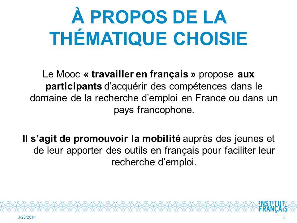 À PROPOS DE LA THÉMATIQUE CHOISIE Le Mooc « travailler en français » propose aux participants dacquérir des compétences dans le domaine de la recherche demploi en France ou dans un pays francophone.