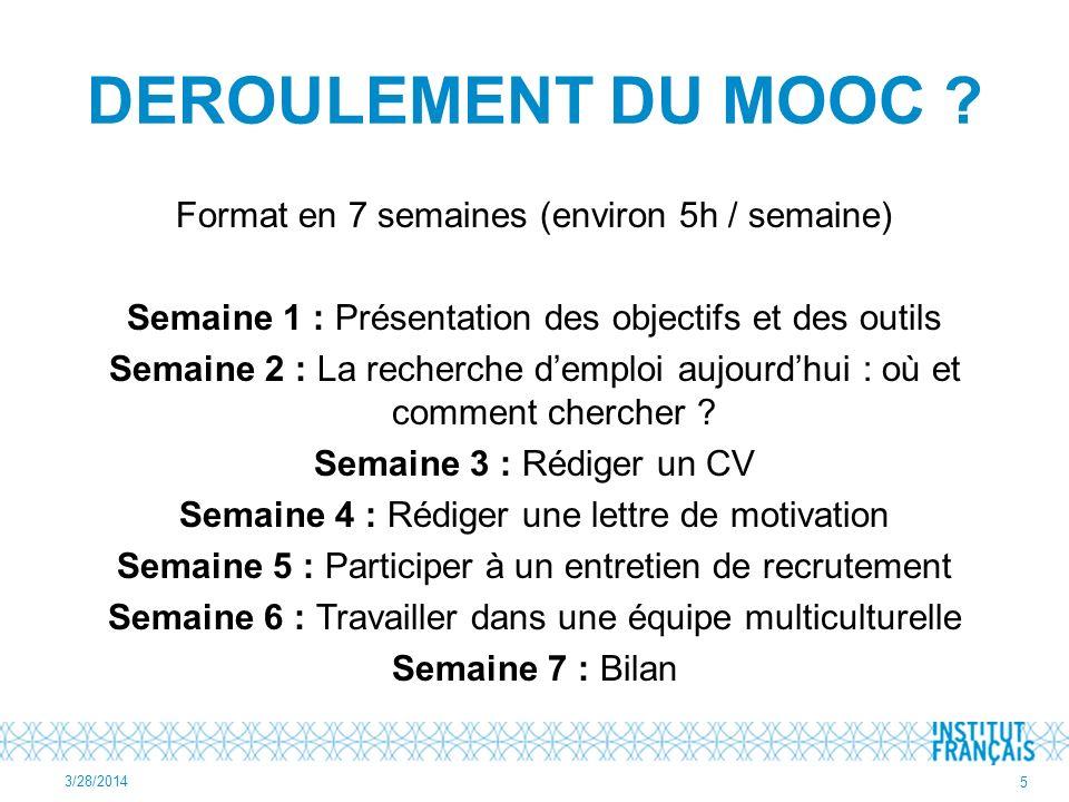 DEROULEMENT DU MOOC .