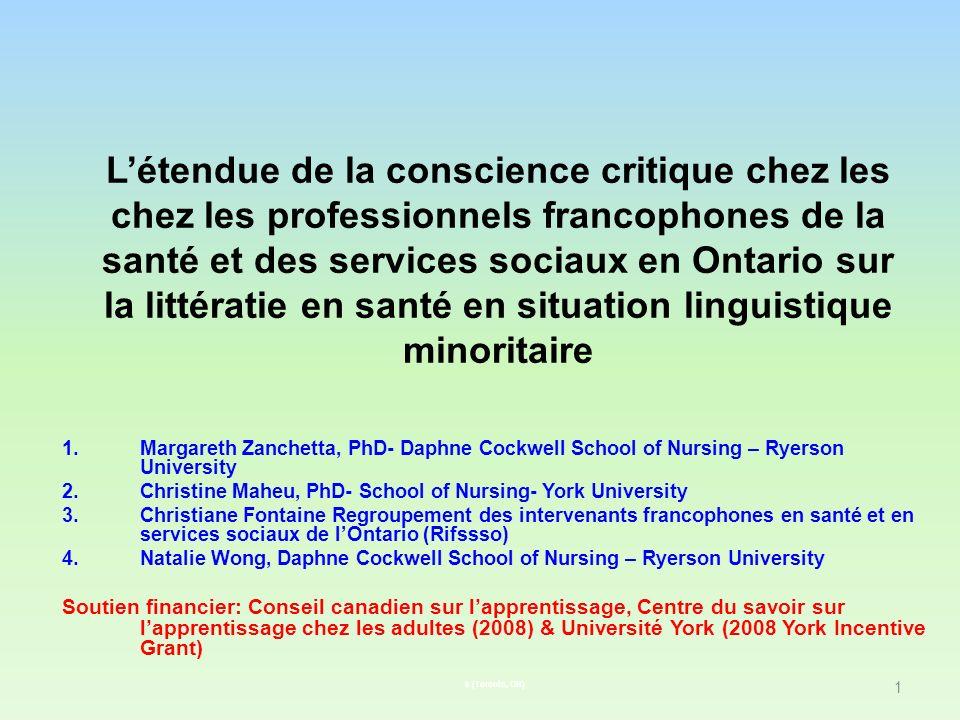 Létendue de la conscience critique chez les chez les professionnels francophones de la santé et des services sociaux en Ontario sur la littératie en s