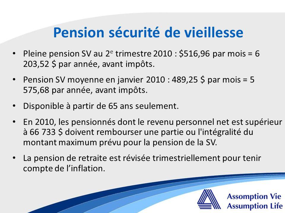 Pension sécurité de vieillesse Pleine pension SV au 2 e trimestre 2010 : $516,96 par mois = 6 203,52 $ par année, avant impôts.