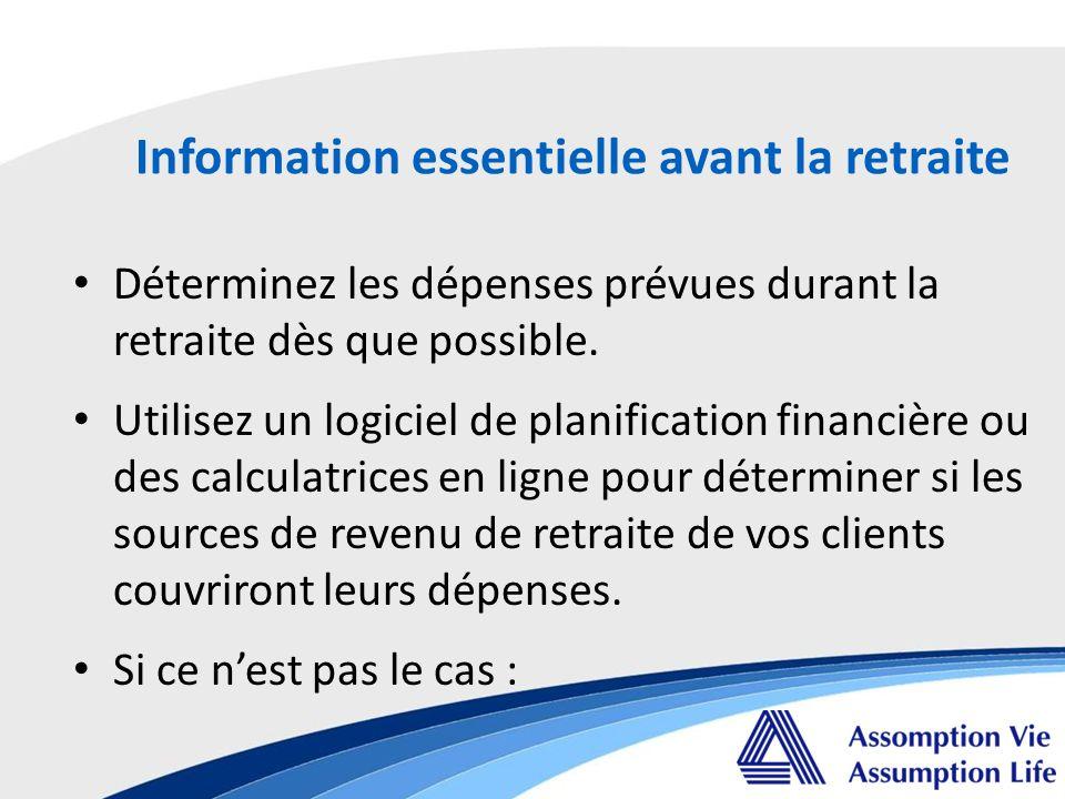 Déterminez les dépenses prévues durant la retraite dès que possible.