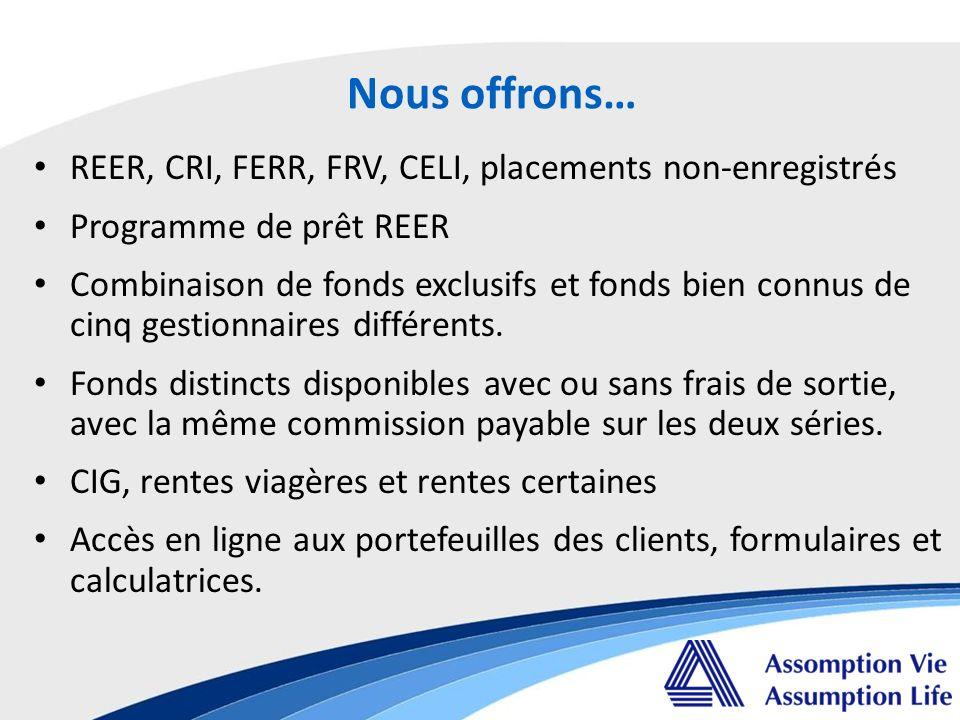 REER, CRI, FERR, FRV, CELI, placements non-enregistrés Programme de prêt REER Combinaison de fonds exclusifs et fonds bien connus de cinq gestionnaires différents.