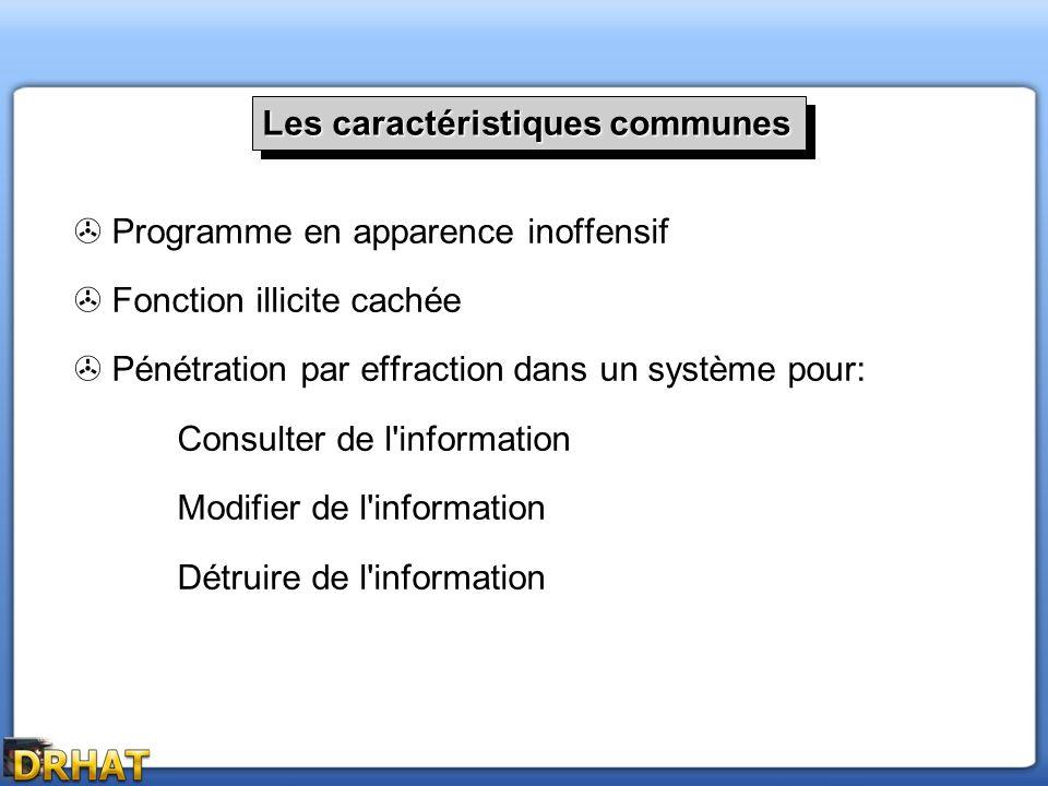 Programme en apparence inoffensif Fonction illicite cachée Pénétration par effraction dans un système pour: Consulter de l'information Modifier de l'i