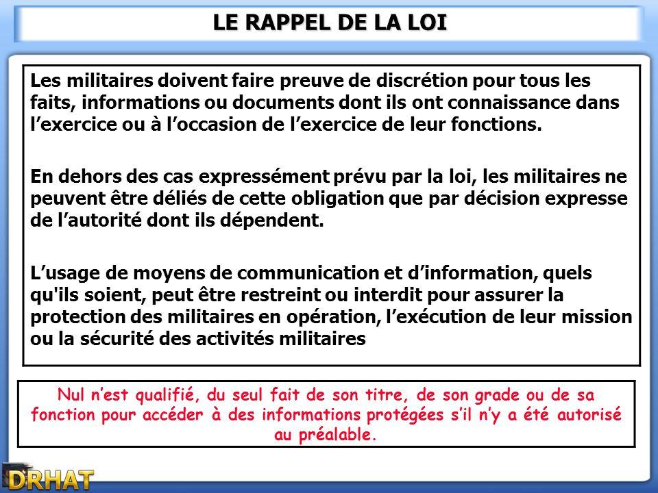 LE RAPPEL DE LA LOI Les militaires doivent faire preuve de discrétion pour tous les faits, informations ou documents dont ils ont connaissance dans le