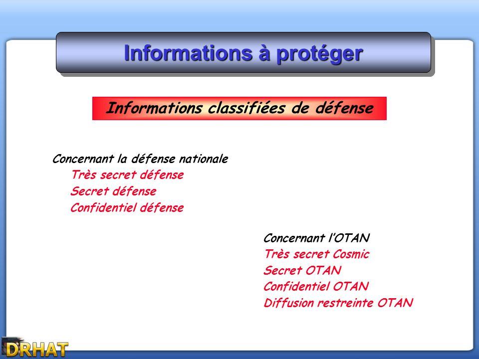 Informations à protéger Concernant la défense nationale Très secret défense Secret défense Confidentiel défense Concernant lOTAN Très secret Cosmic Se