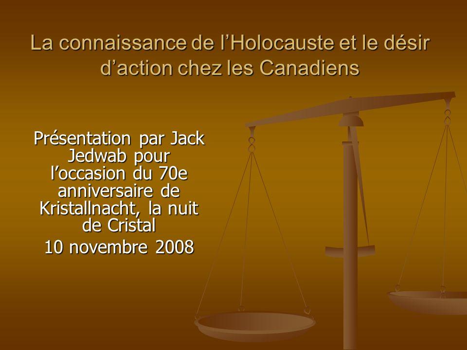 La connaissance de lHolocauste et le désir daction chez les Canadiens Présentation par Jack Jedwab pour loccasion du 70e anniversaire de Kristallnacht, la nuit de Cristal 10 novembre 2008