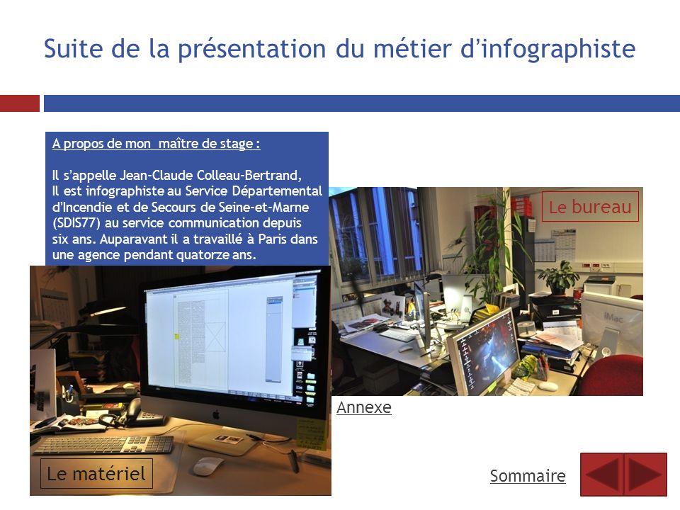 Suite de la présentation du métier dinfographiste A propos de mon maître de stage : Il sappelle Jean-Claude Colleau-Bertrand, Il est infographiste au