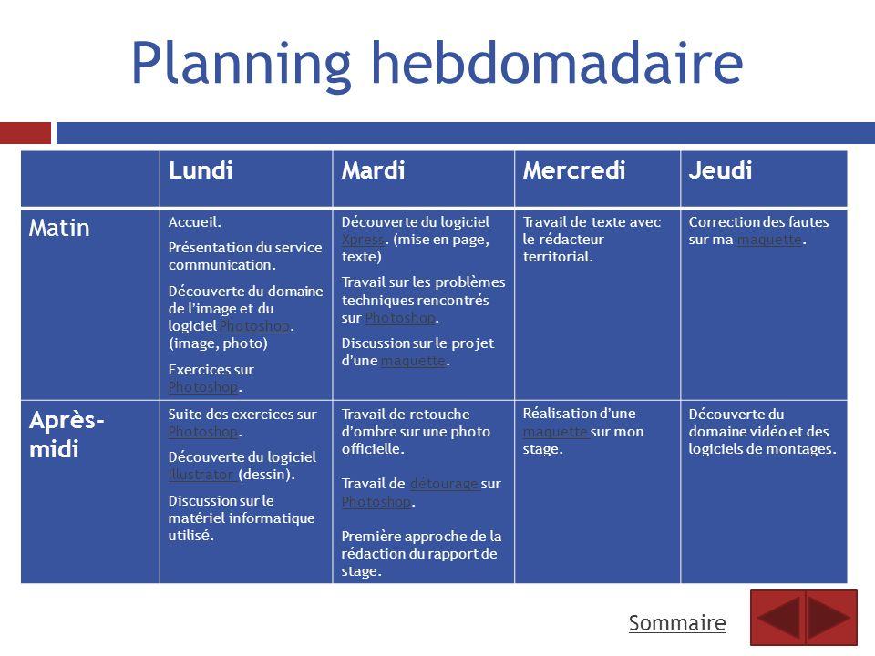 Planning hebdomadaire LundiMardiMercrediJeudi Matin Accueil. Présentation du service communication. Découverte du domaine de limage et du logiciel Pho