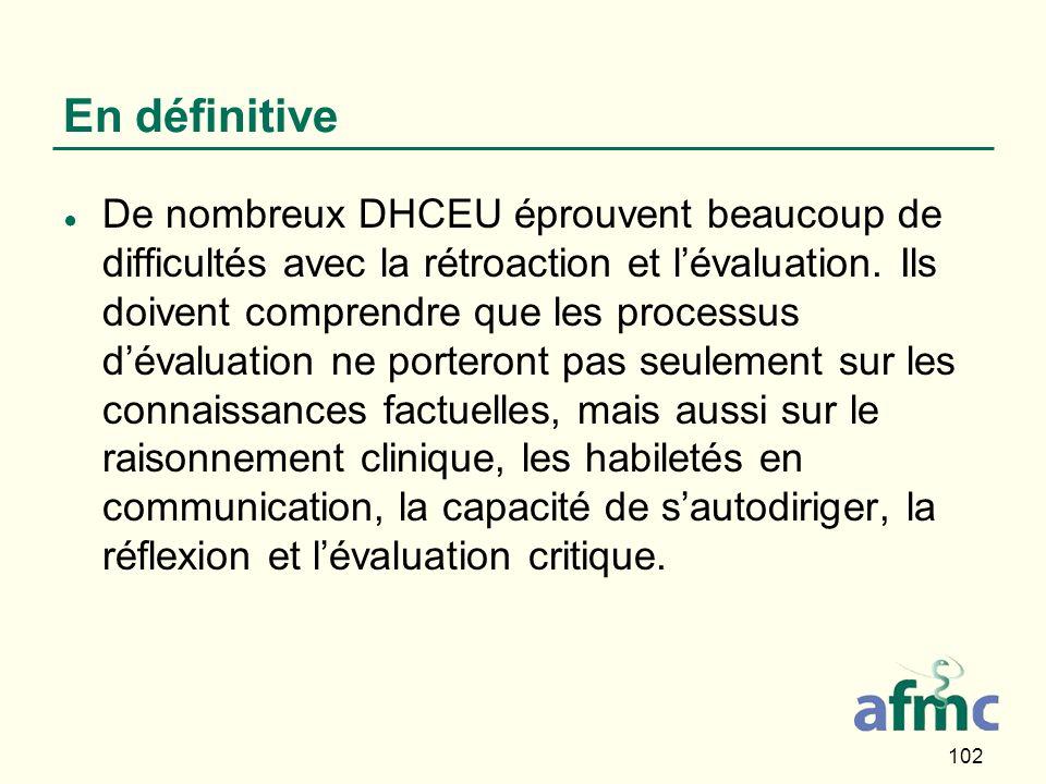 102 En définitive De nombreux DHCEU éprouvent beaucoup de difficultés avec la rétroaction et lévaluation.