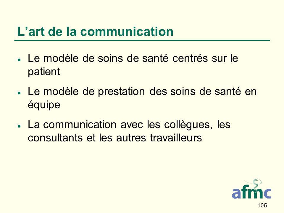 105 Lart de la communication Le modèle de soins de santé centrés sur le patient Le modèle de prestation des soins de santé en équipe La communication avec les collègues, les consultants et les autres travailleurs