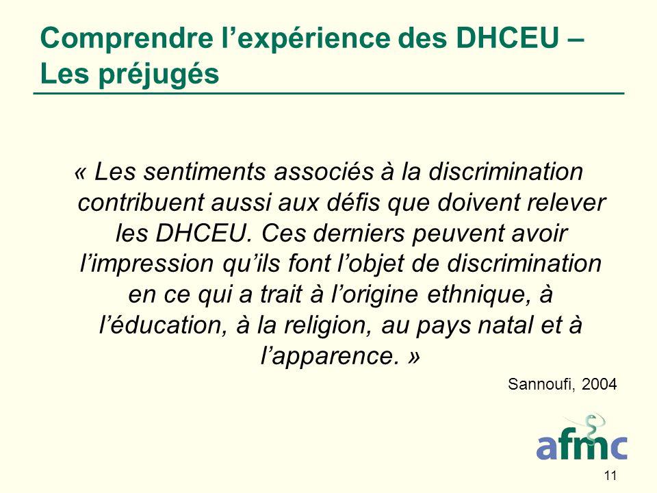 11 Comprendre lexpérience des DHCEU – Les préjugés « Les sentiments associés à la discrimination contribuent aussi aux défis que doivent relever les DHCEU.