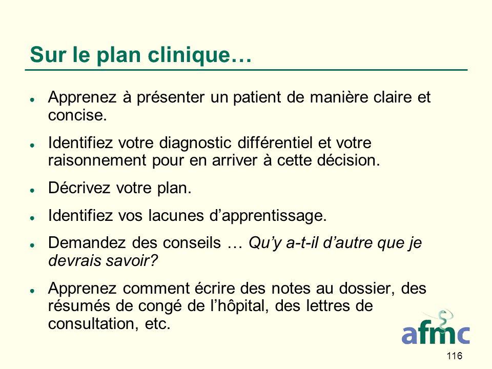 116 Sur le plan clinique… Apprenez à présenter un patient de manière claire et concise.
