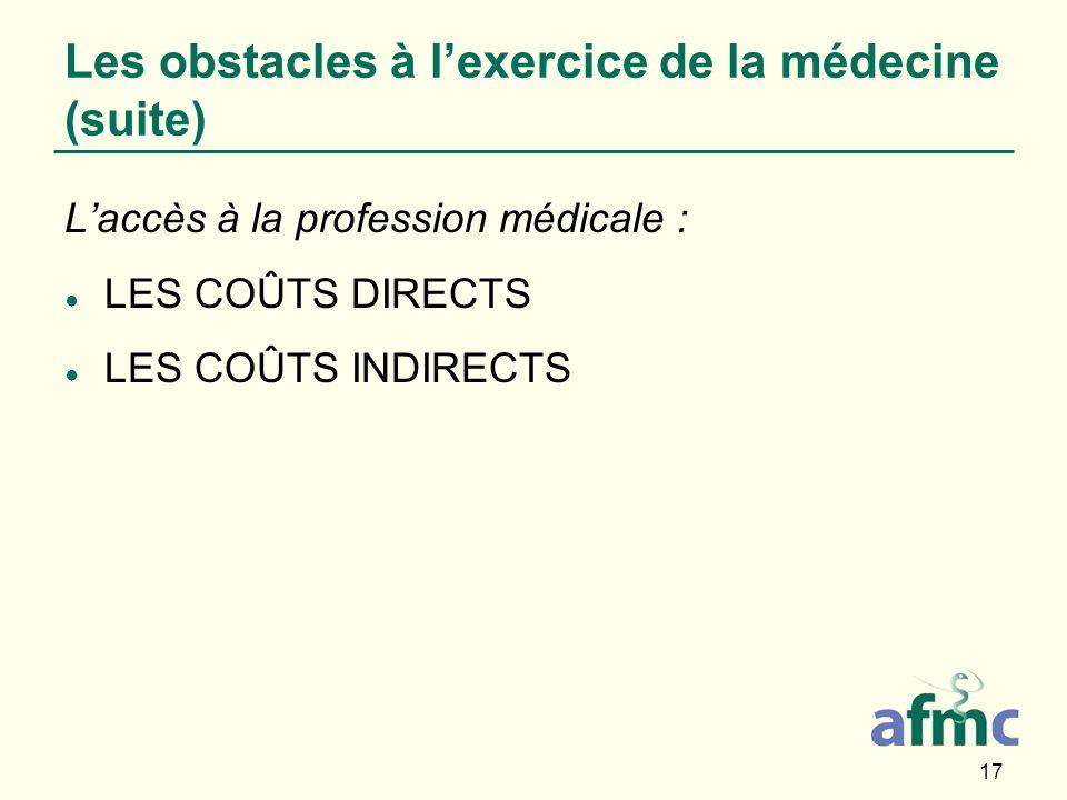 17 Les obstacles à lexercice de la médecine (suite) Laccès à la profession médicale : LES COÛTS DIRECTS LES COÛTS INDIRECTS