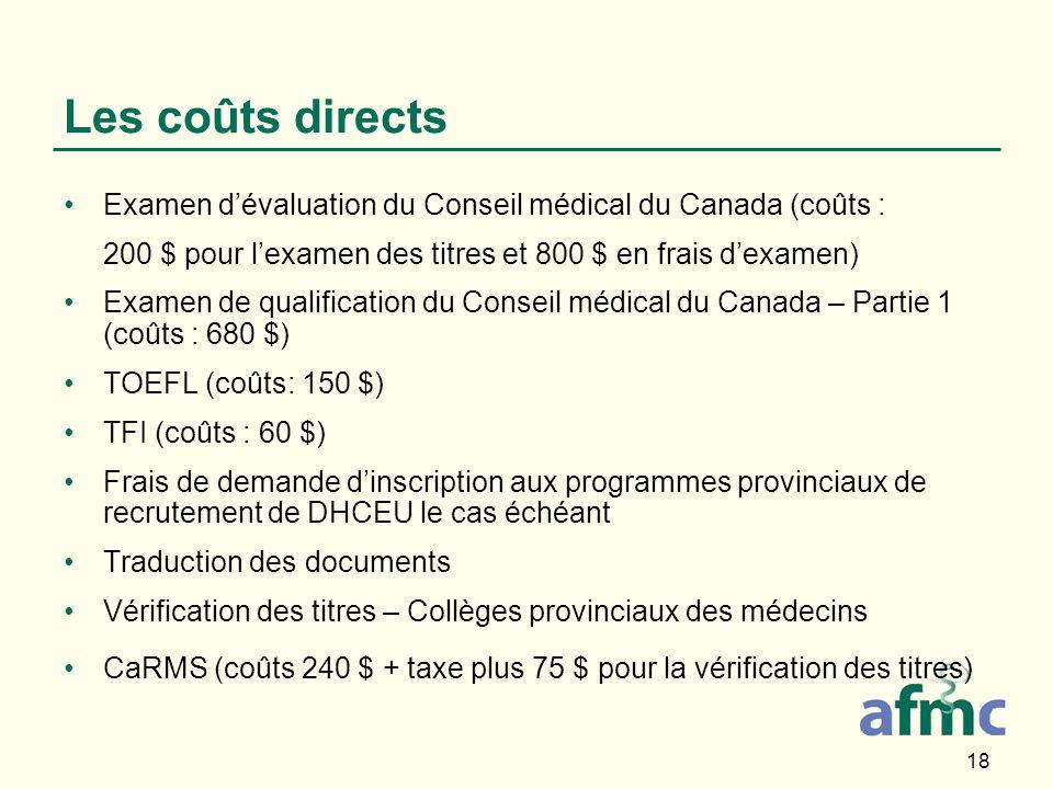 18 Les coûts directs Examen dévaluation du Conseil médical du Canada (coûts : 200 $ pour lexamen des titres et 800 $ en frais dexamen) Examen de qualification du Conseil médical du Canada – Partie 1 (coûts : 680 $) TOEFL (coûts: 150 $) TFI (coûts : 60 $) Frais de demande dinscription aux programmes provinciaux de recrutement de DHCEU le cas échéant Traduction des documents Vérification des titres – Collèges provinciaux des médecins CaRMS (coûts 240 $ + taxe plus 75 $ pour la vérification des titres)