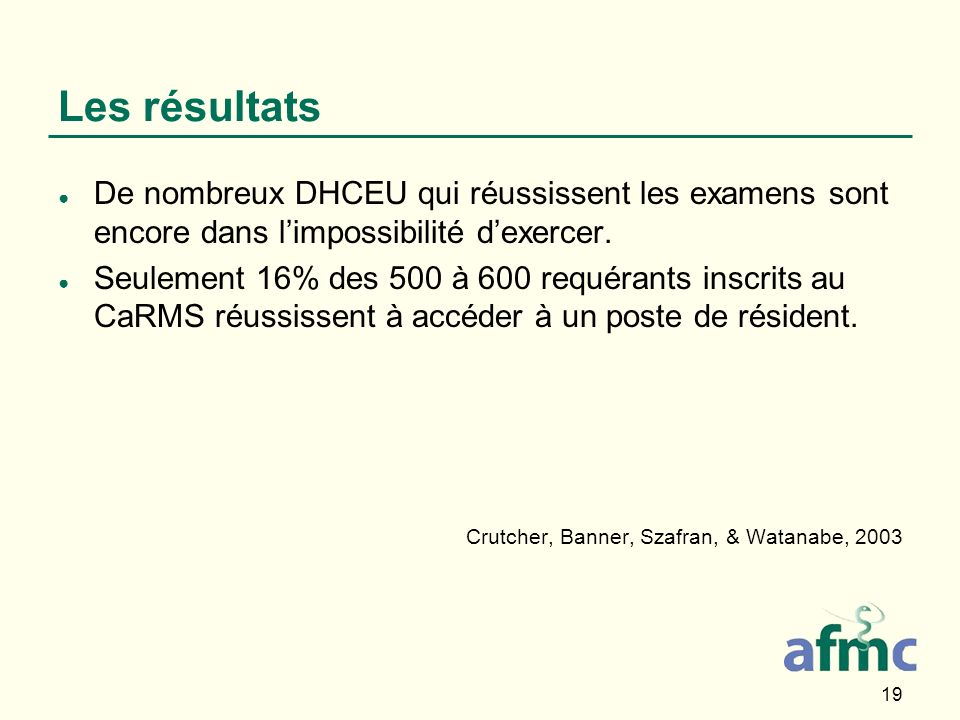 19 Les résultats De nombreux DHCEU qui réussissent les examens sont encore dans limpossibilité dexercer.