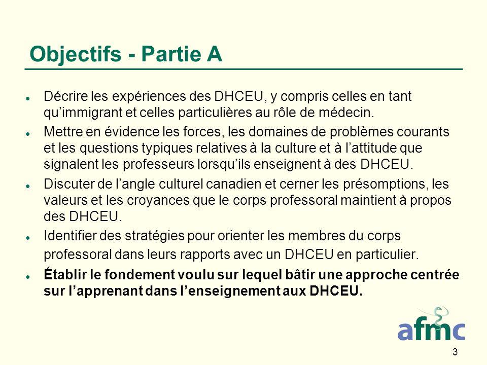 3 Objectifs - Partie A Décrire les expériences des DHCEU, y compris celles en tant quimmigrant et celles particulières au rôle de médecin.