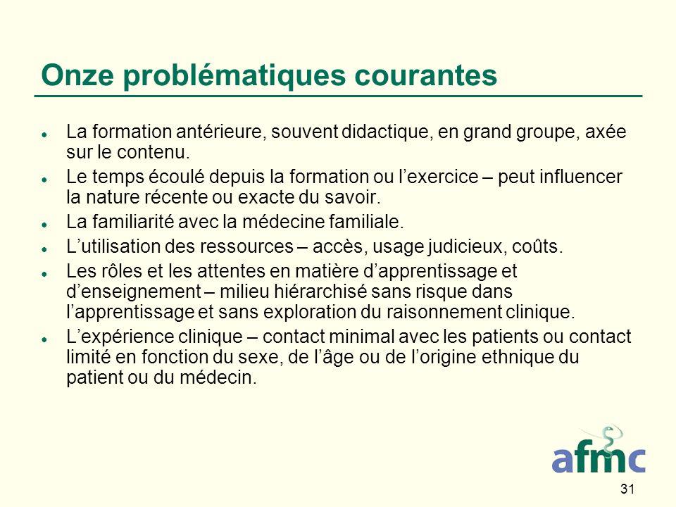 31 Onze problématiques courantes La formation antérieure, souvent didactique, en grand groupe, axée sur le contenu.