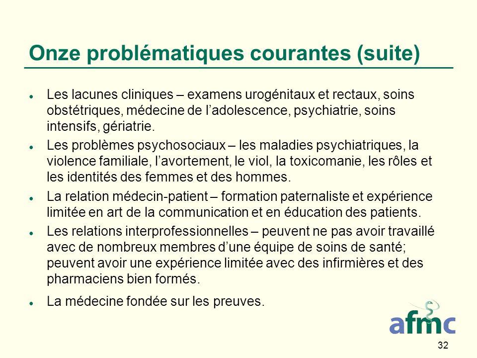 32 Onze problématiques courantes (suite) Les lacunes cliniques – examens urogénitaux et rectaux, soins obstétriques, médecine de ladolescence, psychiatrie, soins intensifs, gériatrie.