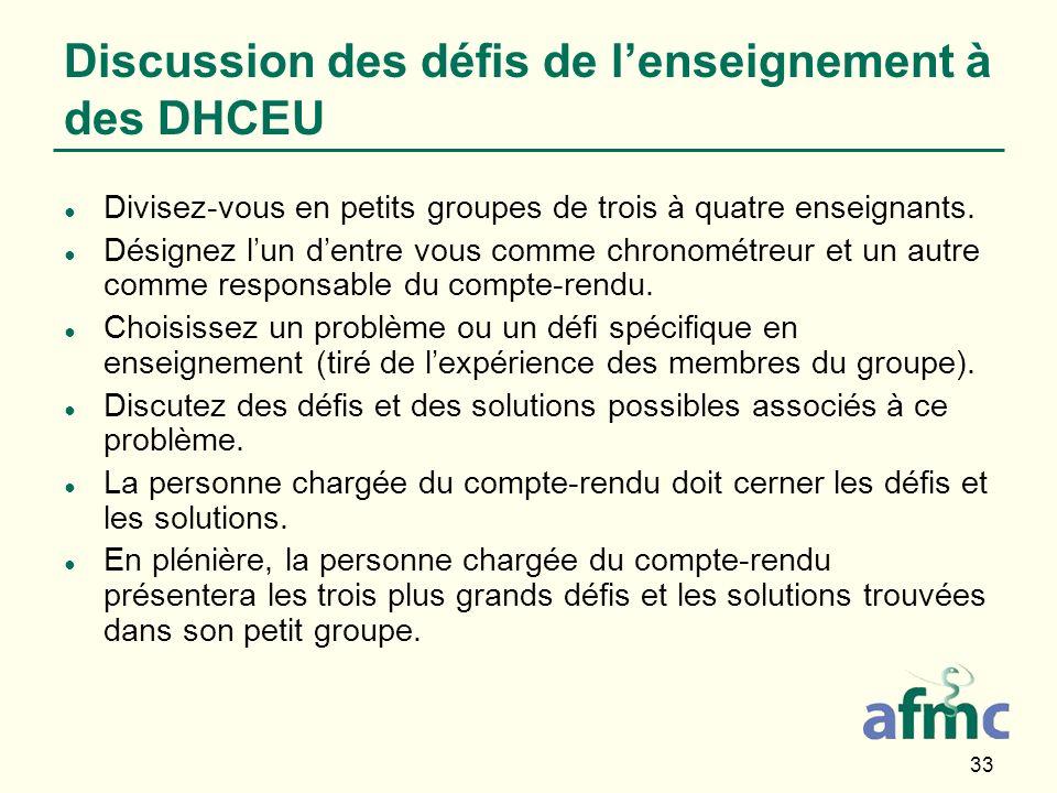 33 Discussion des défis de lenseignement à des DHCEU Divisez-vous en petits groupes de trois à quatre enseignants.
