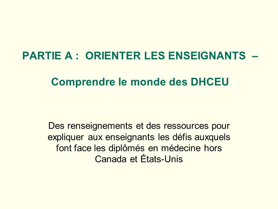 PARTIE A : ORIENTER LES ENSEIGNANTS – Comprendre le monde des DHCEU Des renseignements et des ressources pour expliquer aux enseignants les défis auxquels font face les diplômés en médecine hors Canada et États-Unis
