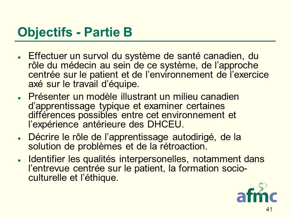 41 Objectifs - Partie B Effectuer un survol du système de santé canadien, du rôle du médecin au sein de ce système, de lapproche centrée sur le patient et de lenvironnement de lexercice axé sur le travail déquipe.