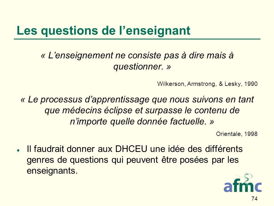 74 Les questions de lenseignant « Lenseignement ne consiste pas à dire mais à questionner.