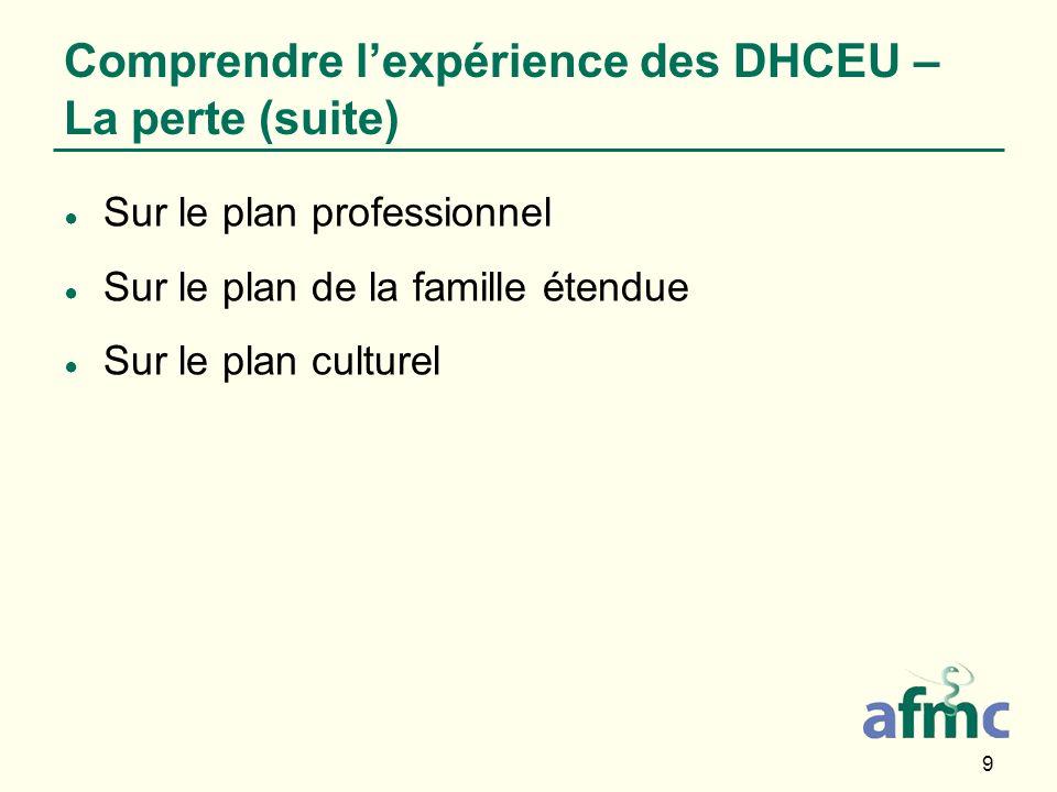 9 Sur le plan professionnel Sur le plan de la famille étendue Sur le plan culturel Comprendre lexpérience des DHCEU – La perte (suite)