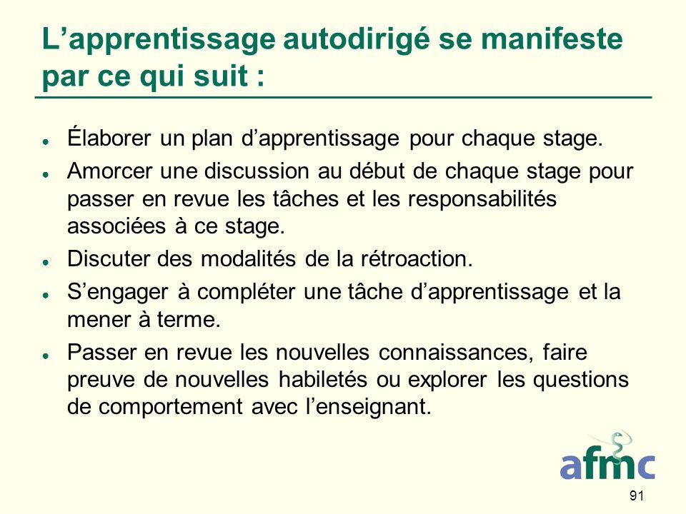 91 Lapprentissage autodirigé se manifeste par ce qui suit : Élaborer un plan dapprentissage pour chaque stage.