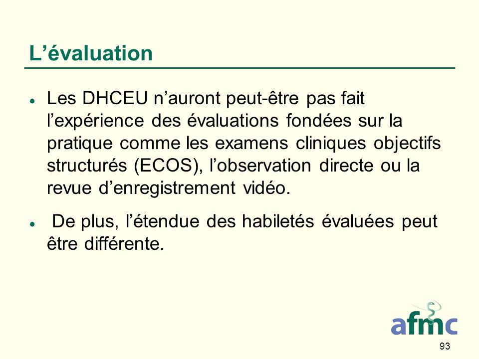 93 Lévaluation Les DHCEU nauront peut-être pas fait lexpérience des évaluations fondées sur la pratique comme les examens cliniques objectifs structurés (ECOS), lobservation directe ou la revue denregistrement vidéo.