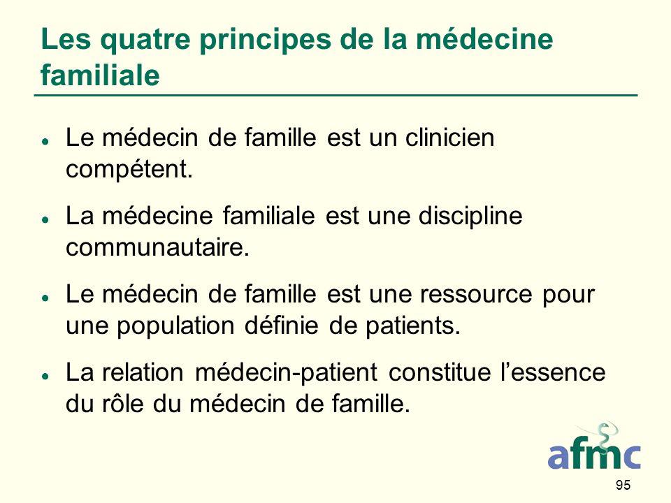 95 Les quatre principes de la médecine familiale Le médecin de famille est un clinicien compétent.
