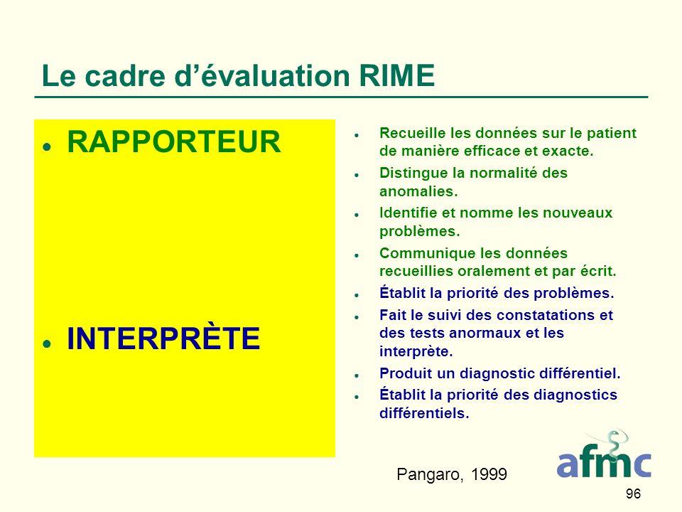 96 Le cadre dévaluation RIME RAPPORTEUR INTERPRÈTE Recueille les données sur le patient de manière efficace et exacte.