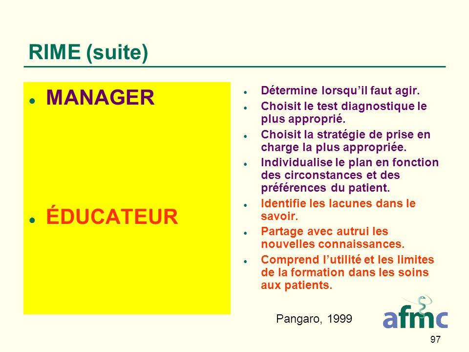 97 RIME (suite) MANAGER ÉDUCATEUR Détermine lorsquil faut agir.