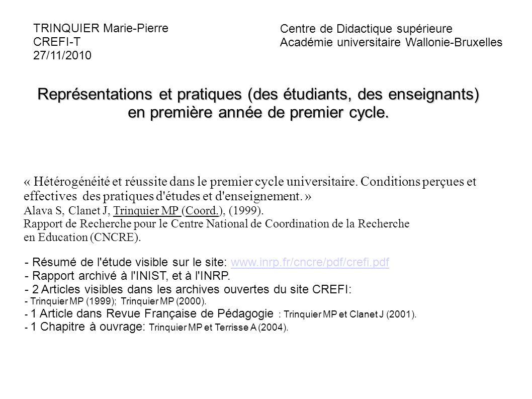 3 laboratoires associés: IREDU (Dijon), CREN (Nantes), CREFI (Toulouse) - Etude sur 3 sites: Dijon, Nantes, Toulouse ; 3 filières par site: AES, SVT, Psycho - Etudiants de 1° année de DEUG: N=1810 - Enseignants : N= 116 2 Mots clefs : Hétérogénéité, Réussite Hétérogénéité étudiante analysée sous l angle des différents types de « Rapports aux Etudes » (Adoption des points de vue de l ARESER, 1997) (Étudiants) Rapport aux études = + -variables d attitudes, et de représentations (soi, contexte, enseignants, tâche d apprentissage) + -pratiques d études + -variables de caractéristiques formelles (filière, parcours scolaire, projet professionnel...)