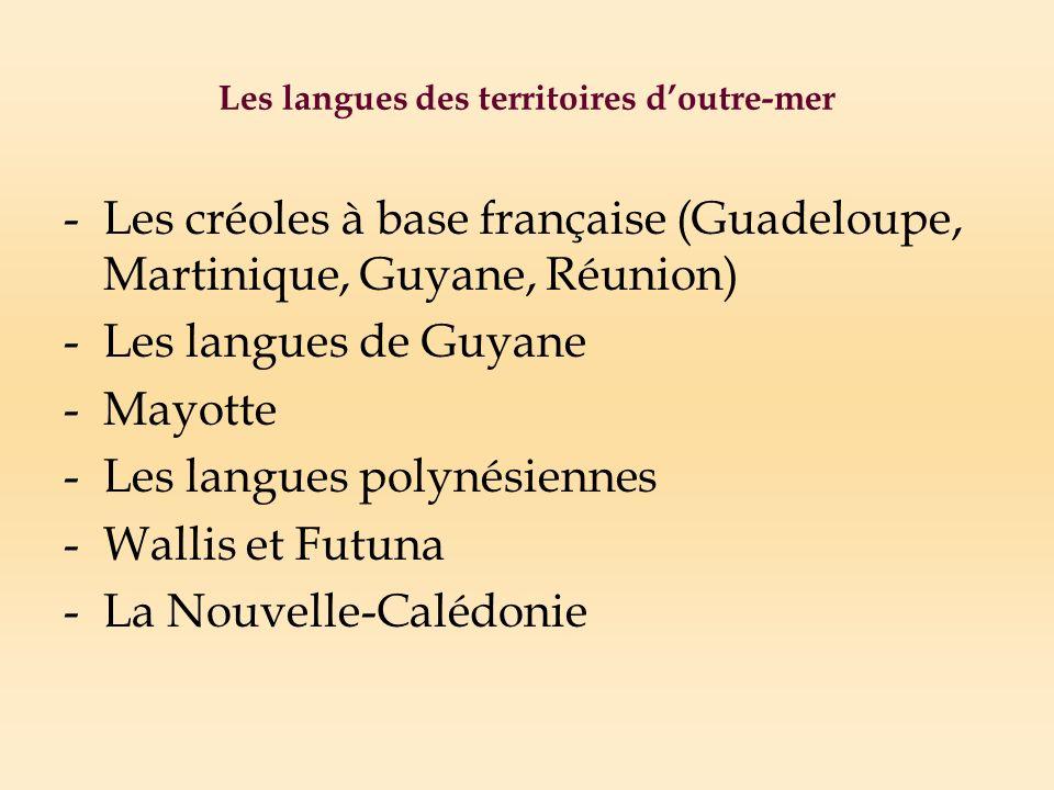 Les langues des territoires doutre-mer -Les créoles à base française (Guadeloupe, Martinique, Guyane, Réunion) -Les langues de Guyane -Mayotte -Les langues polynésiennes -Wallis et Futuna -La Nouvelle-Calédonie
