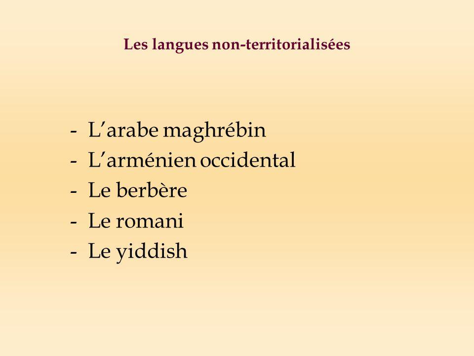 Les langues non-territorialisées -Larabe maghrébin -Larménien occidental -Le berbère -Le romani -Le yiddish