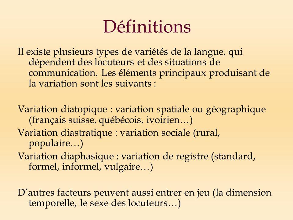 Définitions Il existe plusieurs types de variétés de la langue, qui dépendent des locuteurs et des situations de communication.