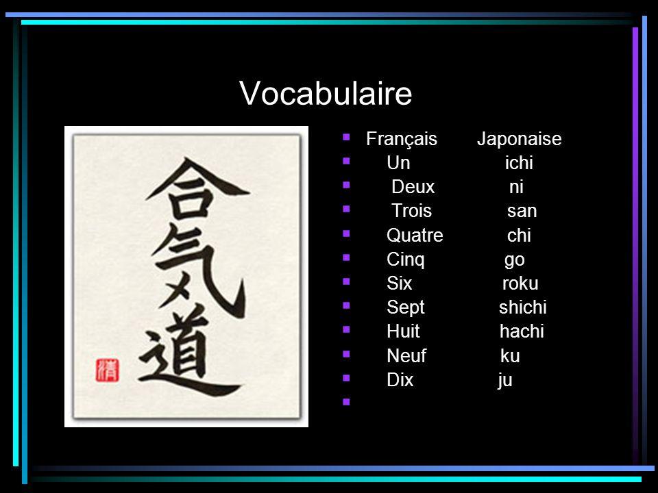 Vocabulaire Français Japonaise Un ichi Deux ni Trois san Quatre chi Cinq go Six roku Sept shichi Huit hachi Neuf ku Dix ju