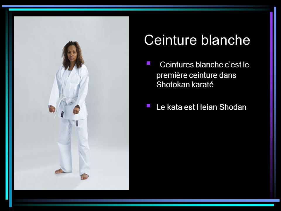 Ceinture blanche Ceintures blanche cest le première ceinture dans Shotokan karaté Le kata est Heian Shodan