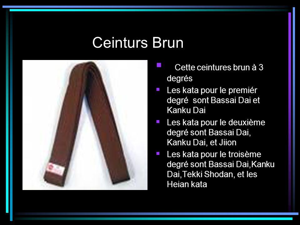 Ceinturs Brun Cette ceintures brun à 3 degrés Les kata pour le premiér degré sont Bassai Dai et Kanku Dai Les kata pour le deuxième degré sont Bassai
