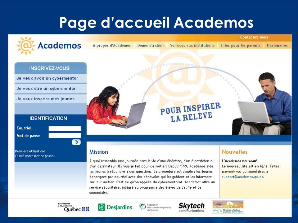 Page daccueil Academos