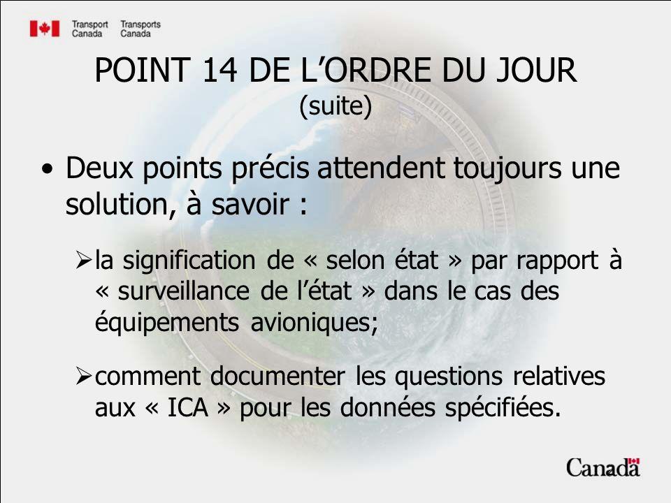 2 POINT 14 DE LORDRE DU JOUR (suite) Deux points précis attendent toujours une solution, à savoir : la signification de « selon état » par rapport à « surveillance de létat » dans le cas des équipements avioniques; comment documenter les questions relatives aux « ICA » pour les données spécifiées.