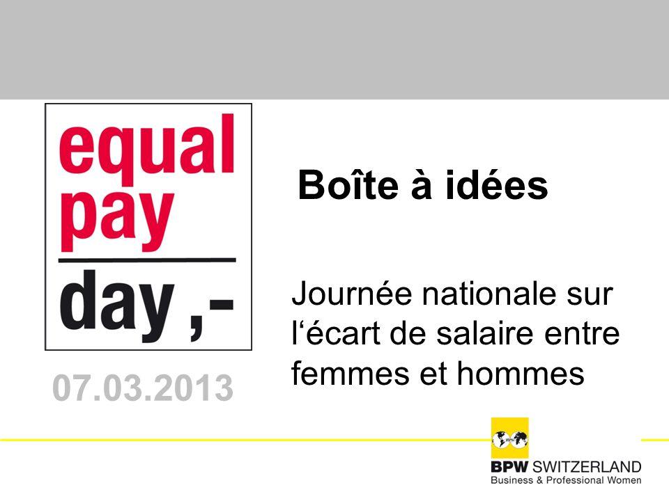 Journée nationale sur lécart de salaire entre femmes et hommes 07.03.2013 Boîte à idées