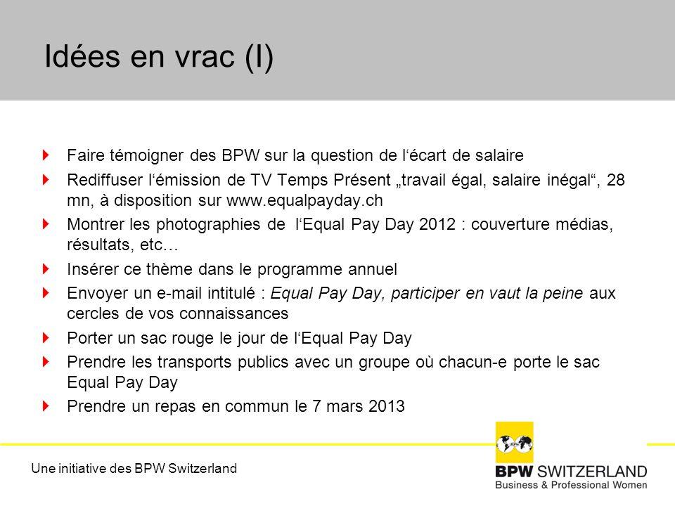 Idées en vrac (I) Faire témoigner des BPW sur la question de lécart de salaire Rediffuser lémission de TV Temps Présent travail égal, salaire inégal, 28 mn, à disposition sur www.equalpayday.ch Montrer les photographies de lEqual Pay Day 2012 : couverture médias, résultats, etc… Insérer ce thème dans le programme annuel Envoyer un e-mail intitulé : Equal Pay Day, participer en vaut la peine aux cercles de vos connaissances Porter un sac rouge le jour de lEqual Pay Day Prendre les transports publics avec un groupe où chacun-e porte le sac Equal Pay Day Prendre un repas en commun le 7 mars 2013 Une initiative des BPW Switzerland